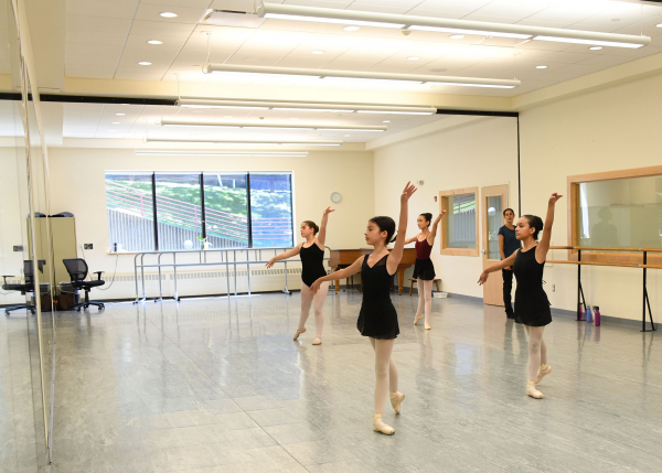 The dance program offers over 40 classes per week with a focus on ballet, while offering excellent modern, jazz, hip-hop, musical theater and ballroom classes for children aged three and older.